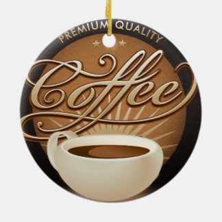 Premium Coffee and Coffee Cup Double-Sided Ceramic Round Christmas Ornament