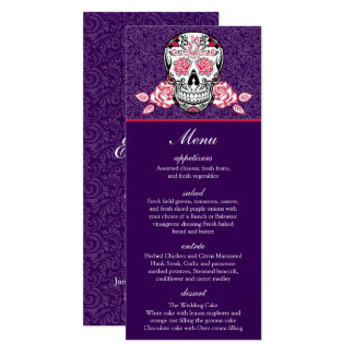 Premium Damask Sugar Skull Roses Menu card 4x9.25""