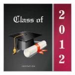 """Premium Metallic Elegant Class of 2012 Graduation 5.25"""" Square Invitation Card"""
