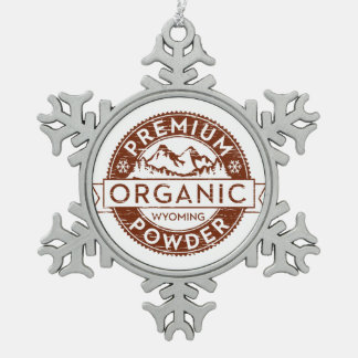 Premium Organic Wyoming Powder Snowflake Pewter Christmas Ornament