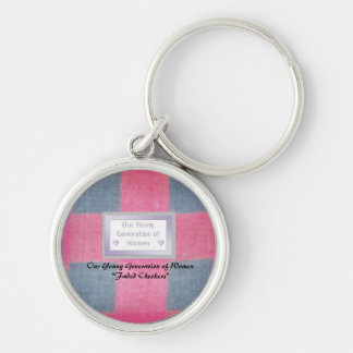 "Premium Round Mentor Keychain ""Faded Checkers"""