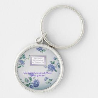 """Premium Round Mentor Keychain """"Fleur of Violet"""""""