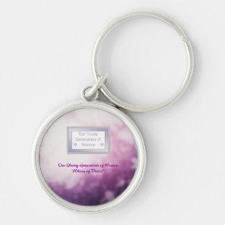 """Premium Round Mentor Keychain """"Whirls of Violet"""""""