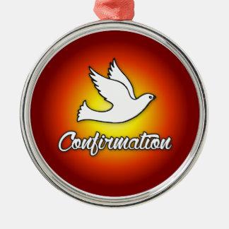 Premium Round Ornament, Confirmation, Dove, Red Metal Ornament
