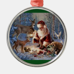 Premium Round Ornament/Santa feeding the animals Metal Ornament