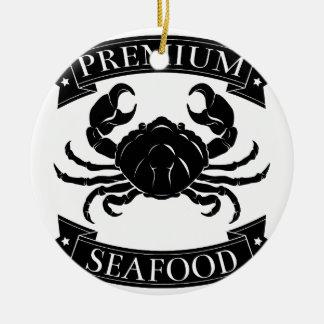 Premium sea food label Double-Sided ceramic round christmas ornament