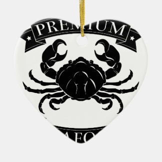 Premium sea food label Double-Sided heart ceramic christmas ornament