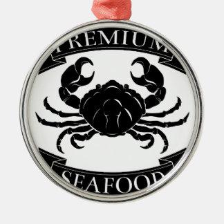 Premium sea food label round metal christmas ornament