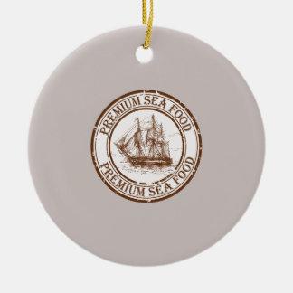 Premium Sea Food Travel Stamp Round Ceramic Ornament