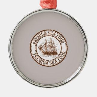 Premium Sea Food Travel Stamp Silver-Colored Round Ornament