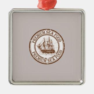 Premium Sea Food Travel Stamp Silver-Colored Square Ornament