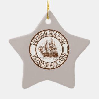 Premium Sea Food Travel Stamp Ceramic Star Ornament