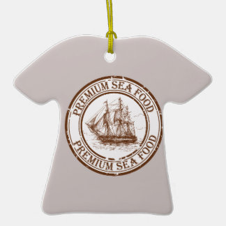 Premium Sea Food Travel Stamp Ceramic T-Shirt Ornament
