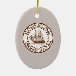 Premium Sea Food Travel Stamp Ceramic Oval Ornament
