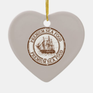Premium Sea Food Travel Stamp Ceramic Heart Ornament