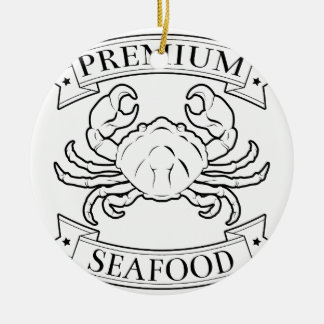Premium seafood icon Double-Sided ceramic round christmas ornament