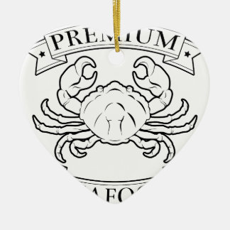 Premium seafood icon Double-Sided heart ceramic christmas ornament