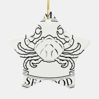 Premium seafood icon Double-Sided star ceramic christmas ornament