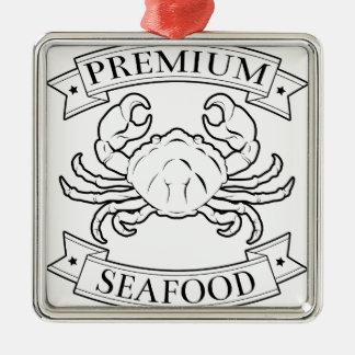 Premium seafood icon square metal christmas ornament