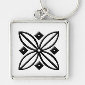 Premium Square Black Floral Keychain