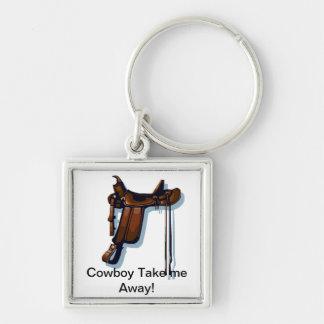 Premium Square Keychain Cowboy Saddle