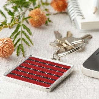 Premium Square Keychain RED/BLACK BARS