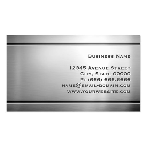 Premium Stainless Steel - Shiny Metal Look Business Cards (back side)