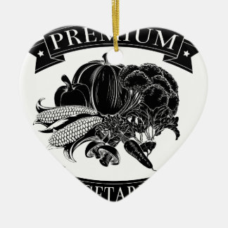Premium vegetarian food label Double-Sided heart ceramic christmas ornament
