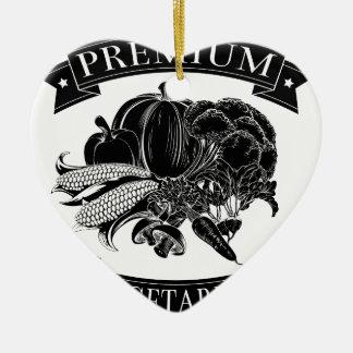 Premium vegetarian food label Double-Sided heart ceramic christmas ornament