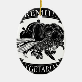 Premium vegetarian food label Double-Sided oval ceramic christmas ornament