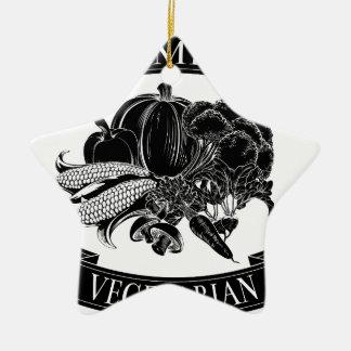 Premium vegetarian food label Double-Sided star ceramic christmas ornament