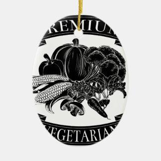 Premium vegetarian food label ornament