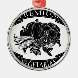 Premium vegetarian food label round metal christmas ornament