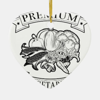 Premium vegetarian icon Double-Sided heart ceramic christmas ornament