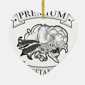 Premium vegetarian icon Double-Sided heart ceramic christmas ornament