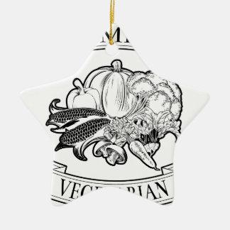 Premium vegetarian icon Double-Sided star ceramic christmas ornament