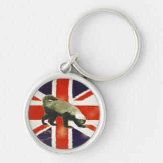 Premium Vintage Union Jack Honey Badger Keychain