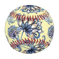 Premium watercolor hand drawn floral batik pattern baseball