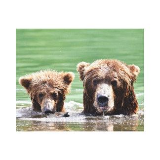 Premium Wrapped Canvas 20x16 w/ grizzly bear