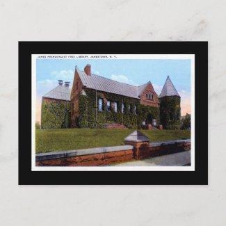 Prendergrast Library, Jamestown NY 1920s Vintage postcard