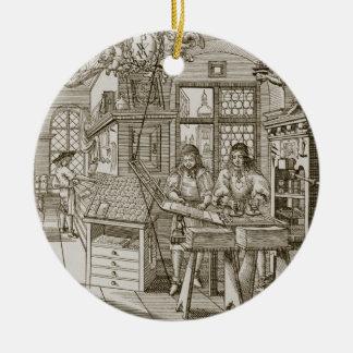 Prensa alemana medieval (grabado) adorno navideño redondo de cerámica