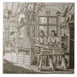 Prensa alemana medieval (grabado) teja cerámica