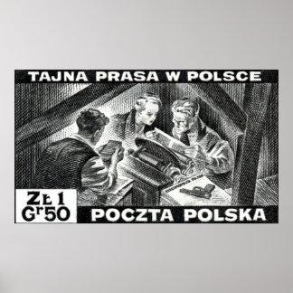Prensa de subterráneo polaca de WWII Posters