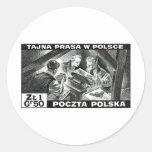 Prensa de subterráneo polaca de WWII Etiquetas Redondas