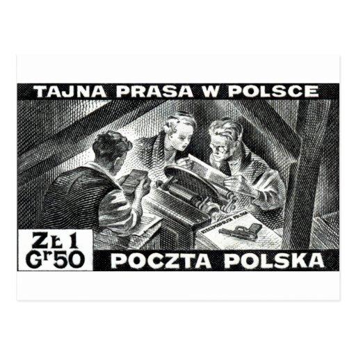Prensa de subterráneo polaca de WWII Tarjetas Postales