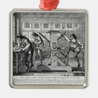 Prensa francesa, 1642 adorno navideño cuadrado de metal