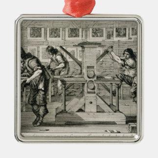 Prensa francesa, 1642 (grabado) adorno navideño cuadrado de metal