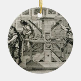 Prensa francesa, 1642 (grabado) adorno navideño redondo de cerámica