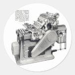 Prensa retra del kitsch del vintage pegatina redonda