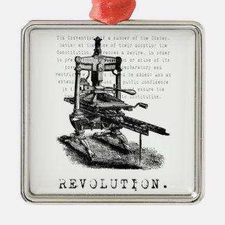 ¡Prensa = REVOLUCIÓN! Adorno Navideño Cuadrado De Metal